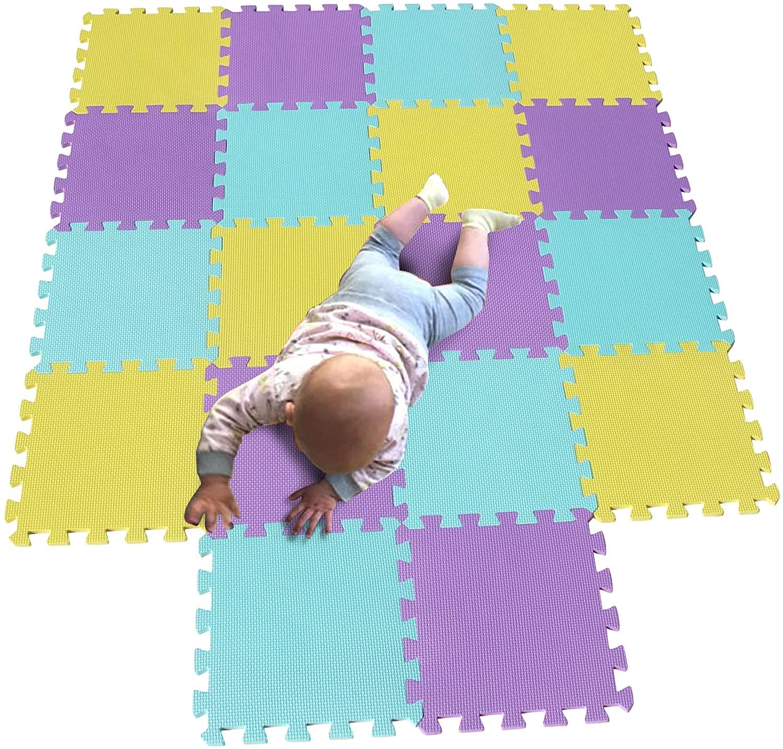MQIAOHAM Children Puzzle mat Play mat Squares Play mat Tiles Baby mats for Floor Puzzle mat Soft Play mats Girl playmat Carpet Interlocking Foam Floor mats for Baby Yellow Green Purple 105108111