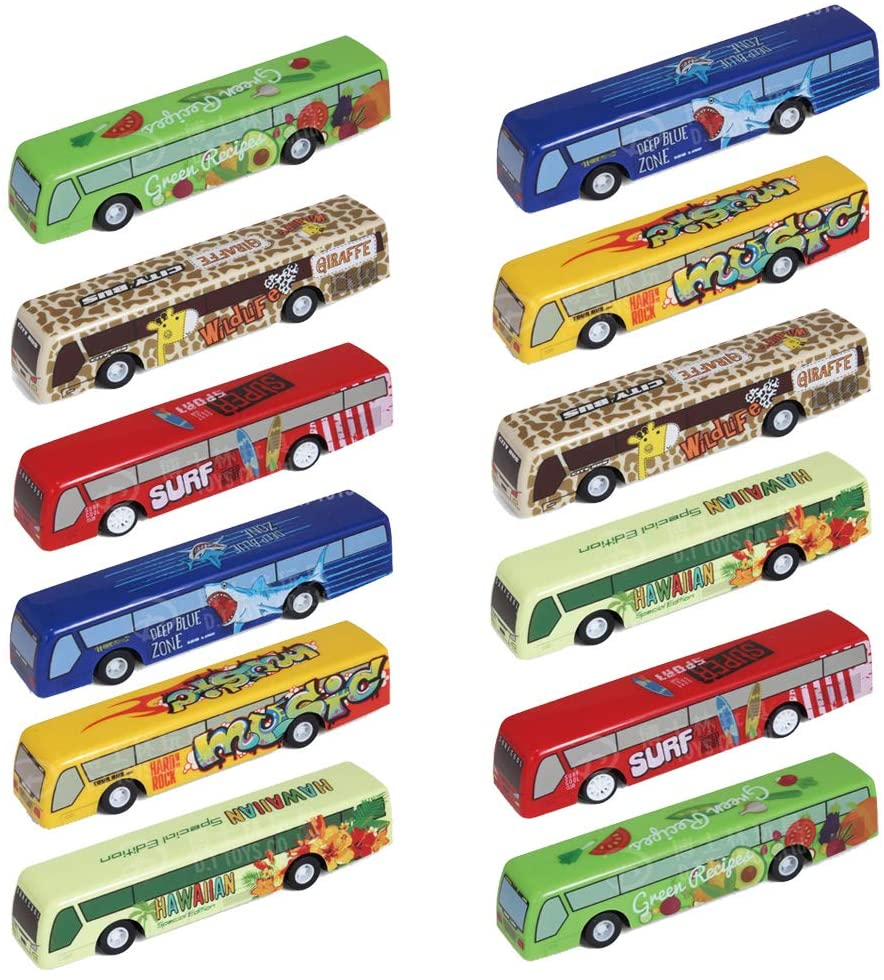 CORPER TOYS Bus Toy Set Pull Back Vehicles Mini City Bus Model Car Set of 12 for Toddle Kids