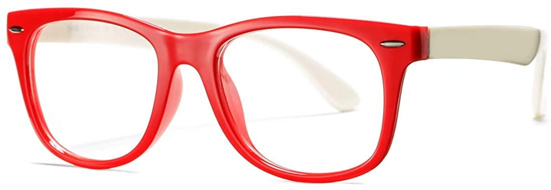 COASION Kids Clear Glasses for Little Girls Boys, Geek Fake Nerd Eyeglasses for Costume (Age 3-12)