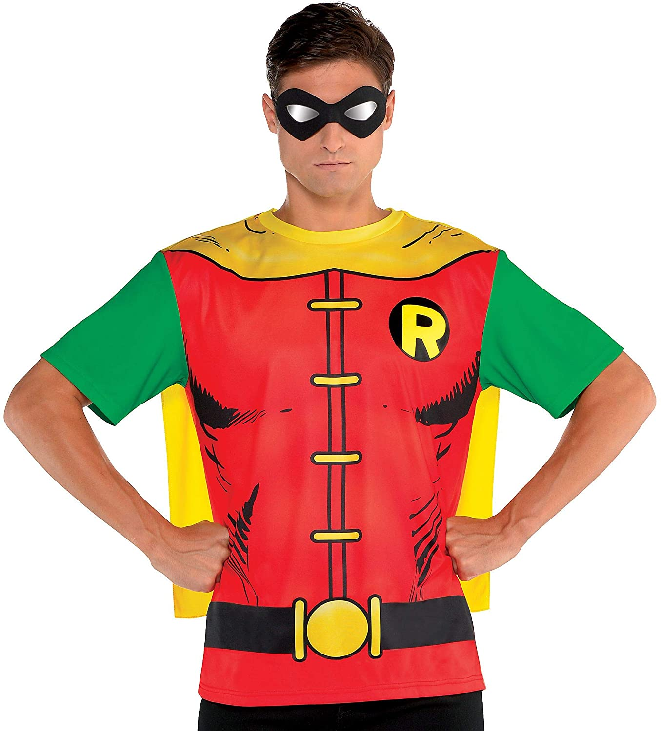 Suit Yourself Batman Robin T-Shirt with Cape for Adults, Size Medium, Red and Green with an Attached Yellow Cape