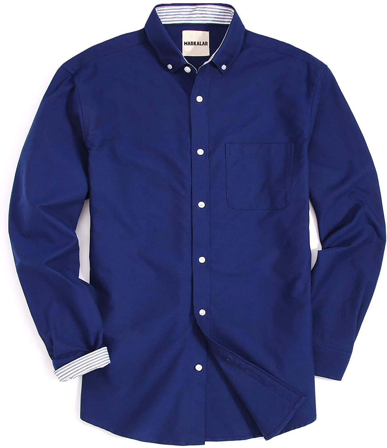 Markalar Mens Oxford Dress Shirts Modern Fit Long Sleeve Casual Button Down Shirt