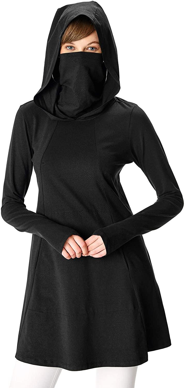 eShakti FX Cotton knit hoodie tunic top- Customizable Neckline, Sleeve & Length