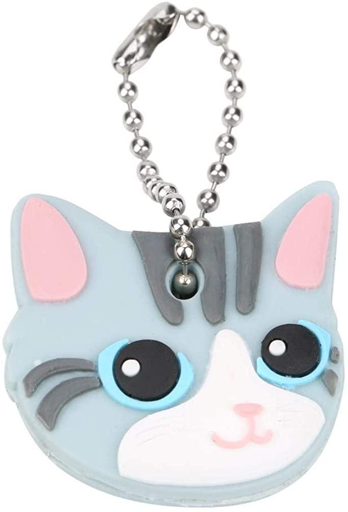 10Pcs Key Covers, Cute Cat Faces Key Cap Keychain PVC Unisex Gift Key Holders for House Key Label Tags(Light Gray Cat)