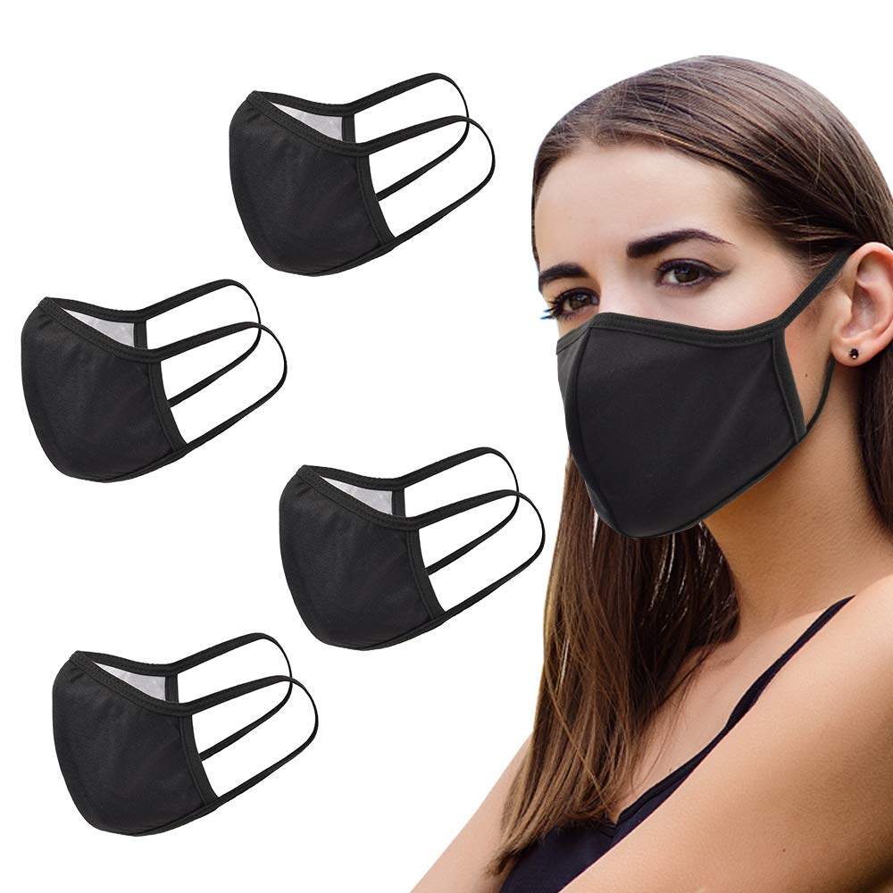 Fashion Protection Neutral Black Dust Proof Face Care Washable Reusable Cotton For Men And Women(5PCS)