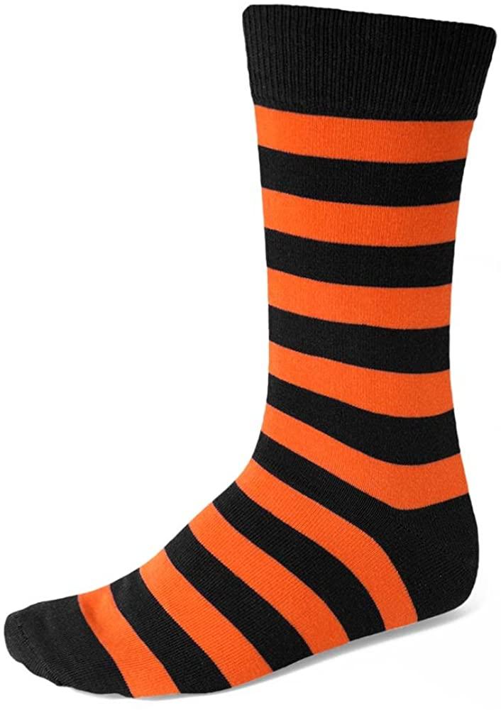 TieMart Men's Orange and Black Striped Socks