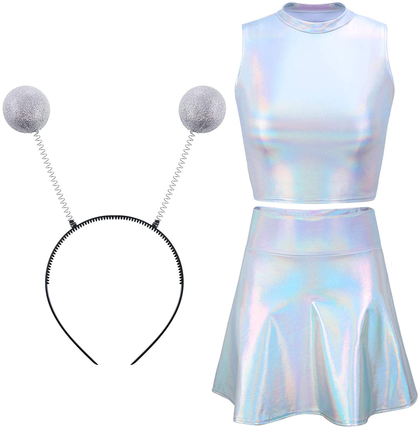 SATINIOR Metallic Silver Sleeveless Crop Tank Top Pleated Skirt Antenna Headband