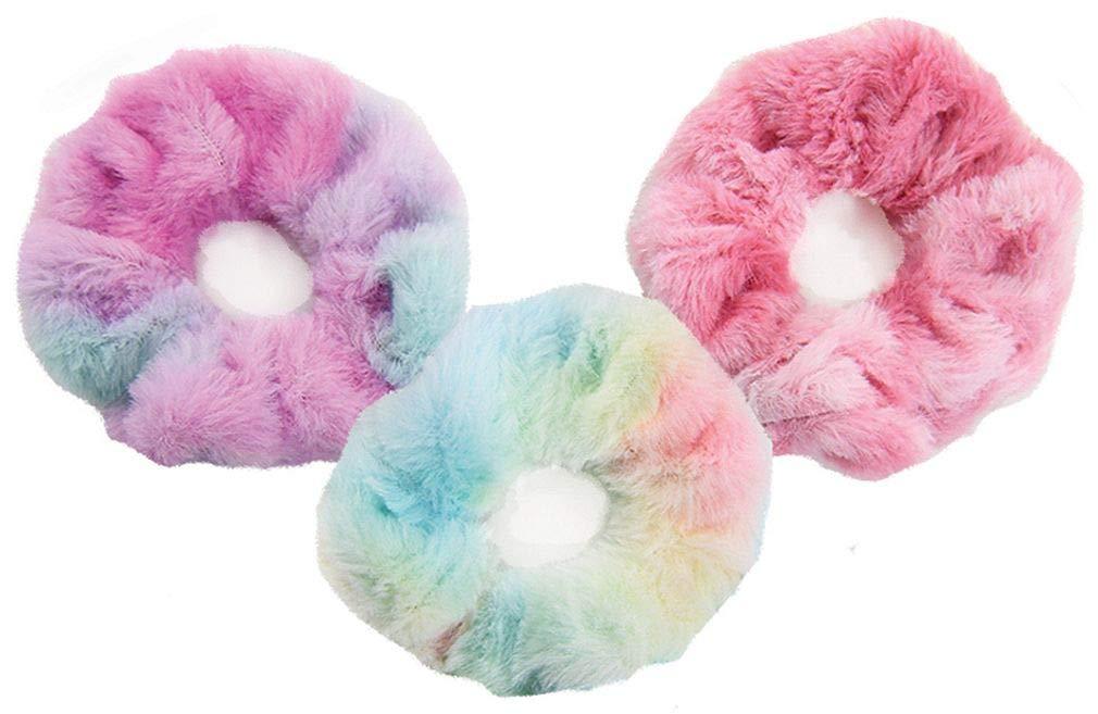 iscream Faux Fur Set of 3 Scrunchies - Pink, Pink Tie Dye and Pastel Tie Dye