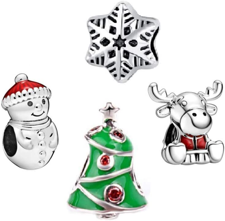 Set of 4 Christmas/Winter Themed #2 Snowman/Snowflake/Reindeer/Tree Charm Beads