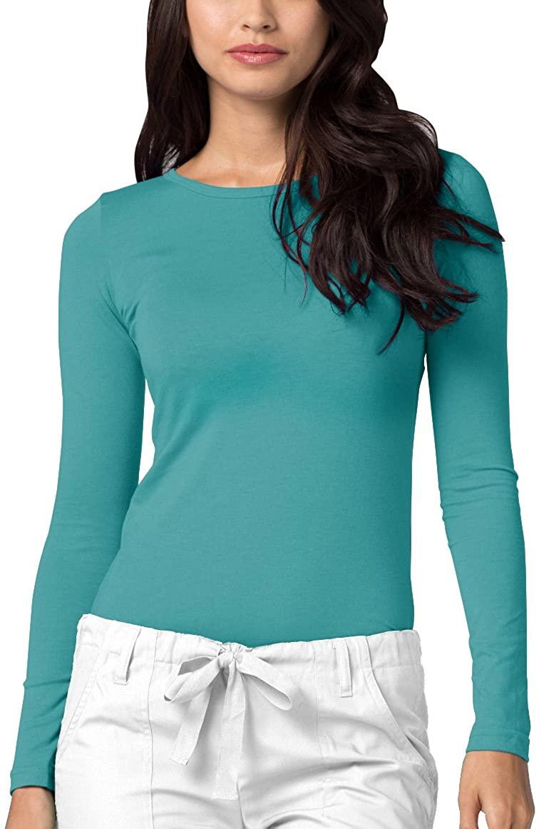 Adar Underscrubs for Women - Long Sleeve Underscrub Comfort Tee - 2900 - Aquamarine - 3X