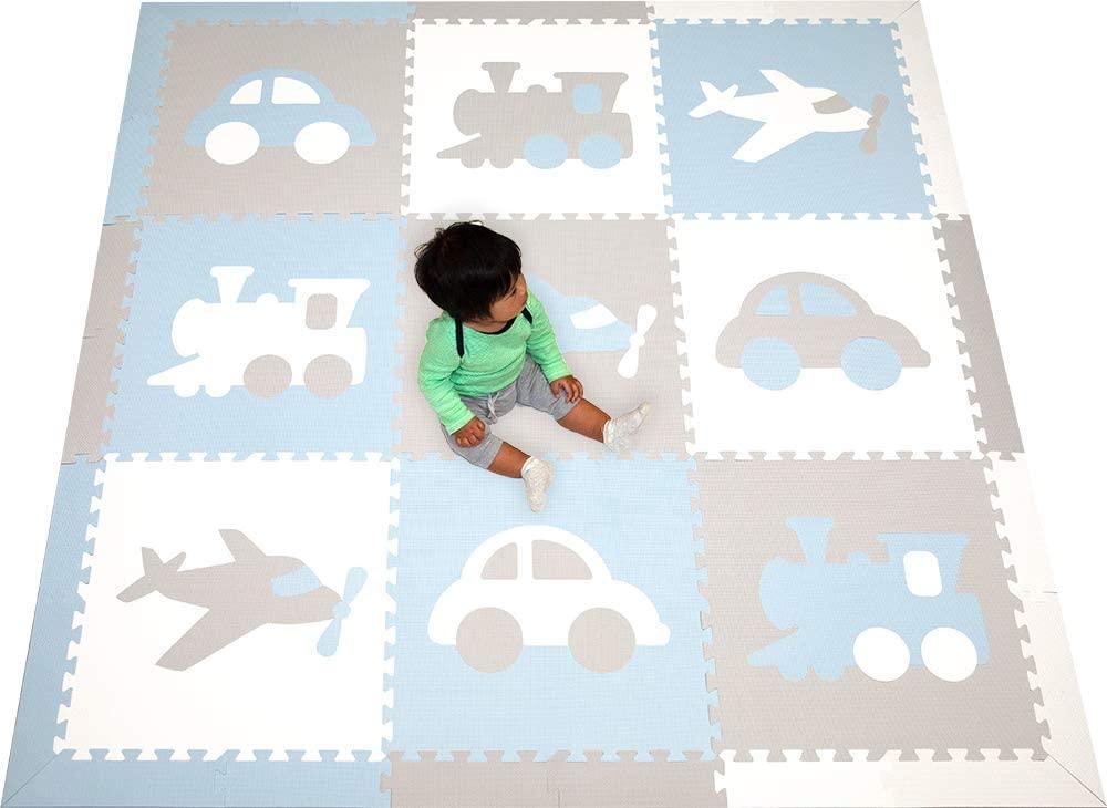 SoftTiles Kids Foam Play Mat- Transportation Theme- Premium Interlocking Foam Children's Foam Playmat for Playrooms and Baby Nursery- 6.5 x 6.5 ft. (Light Blue, Light Gray, White) SCTRAWSH