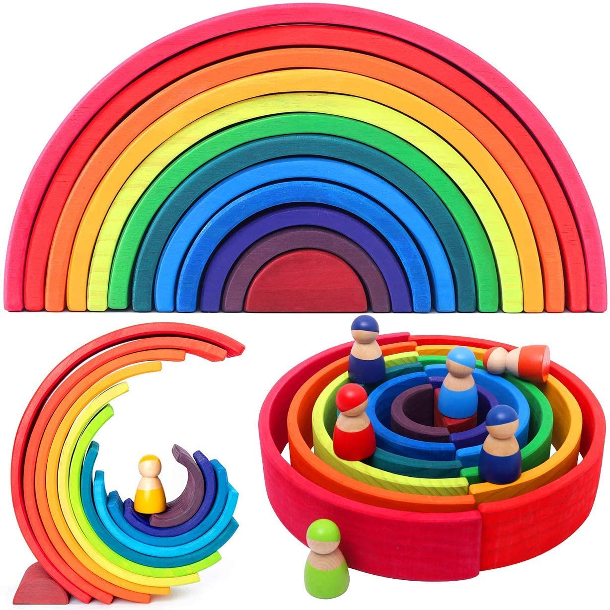 Bonheur Wooden Rainbow Stacking Stacker Puzzle Blocks,Early Development Gift for Toddler Kids