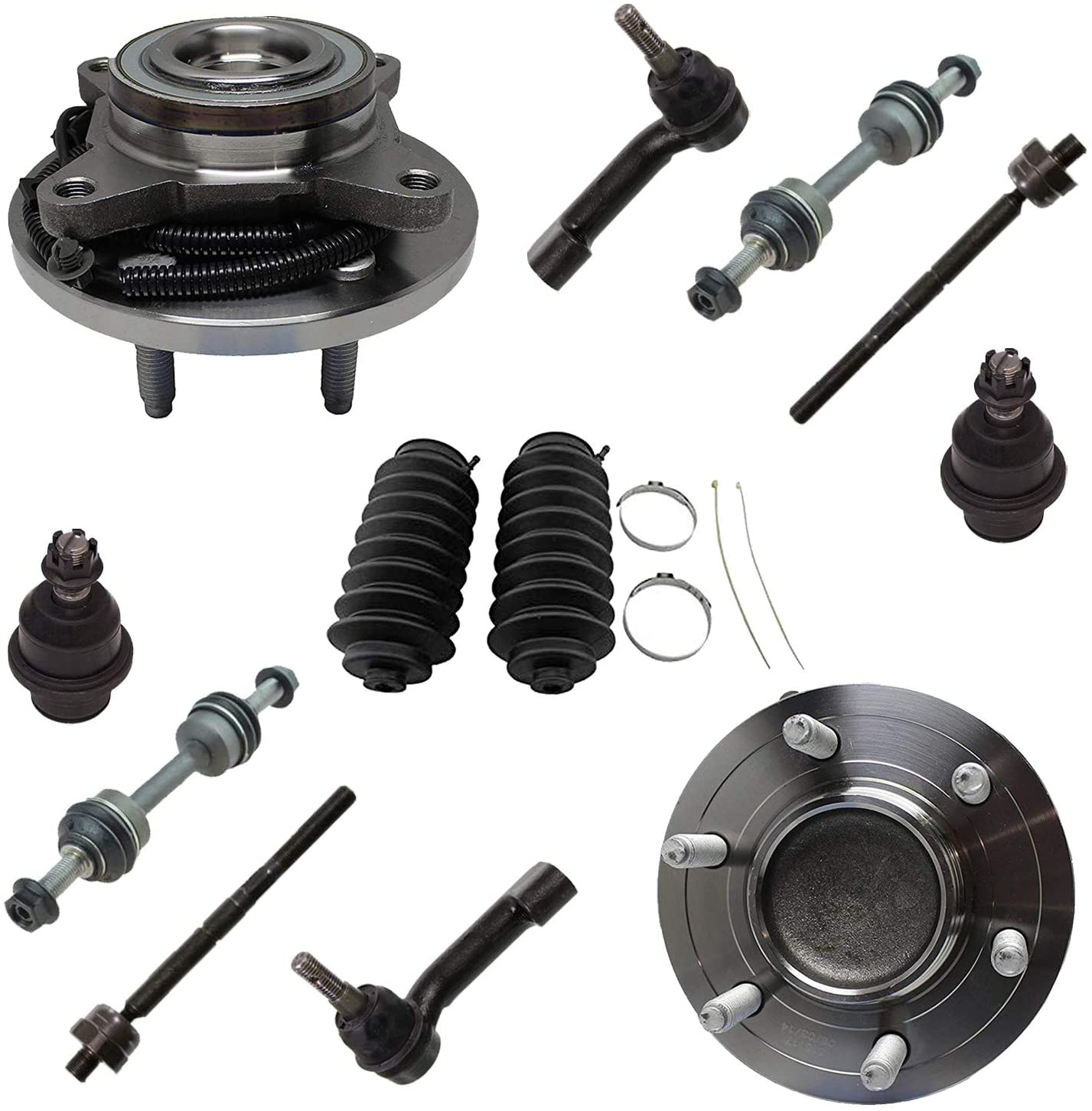 Detroit Axle - 12pc Front Wheel Bearing & Hubs, Inner Outer Tie Rods w/Boots Sway Bar Links and Ball Joints for 2009-2010 Ford F-150/ Expedition/Lincoln Navigator - 2WD w/ABS