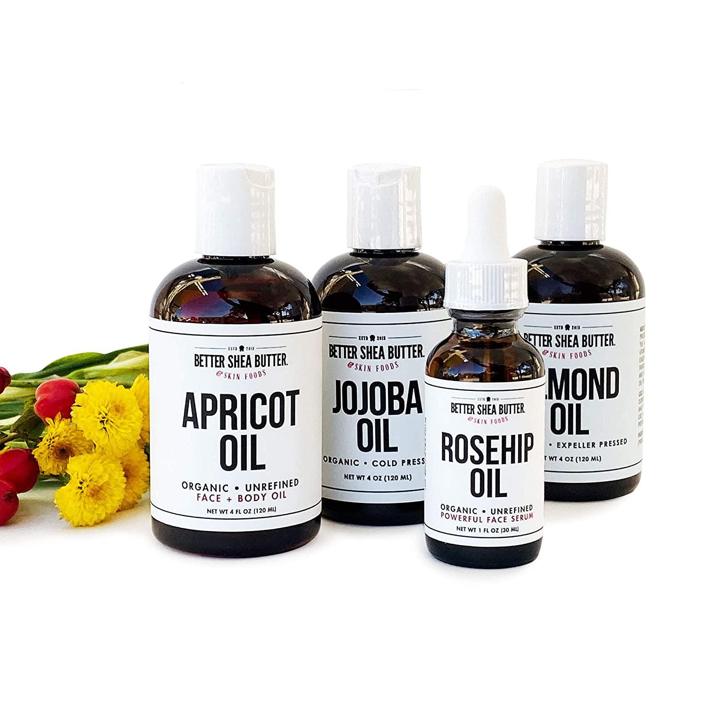 Almond, Apricot, Jojoba, Rosehip Seed Oil Set by Better Shea Butter