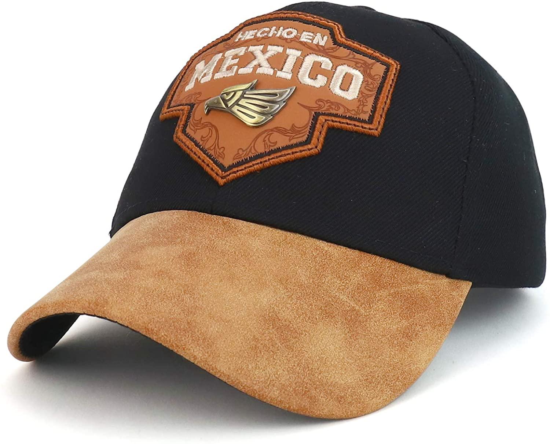 Trendy Apparel Shop Hecho en Mexico Metal Eagle Patch PU Leather Bill Cap