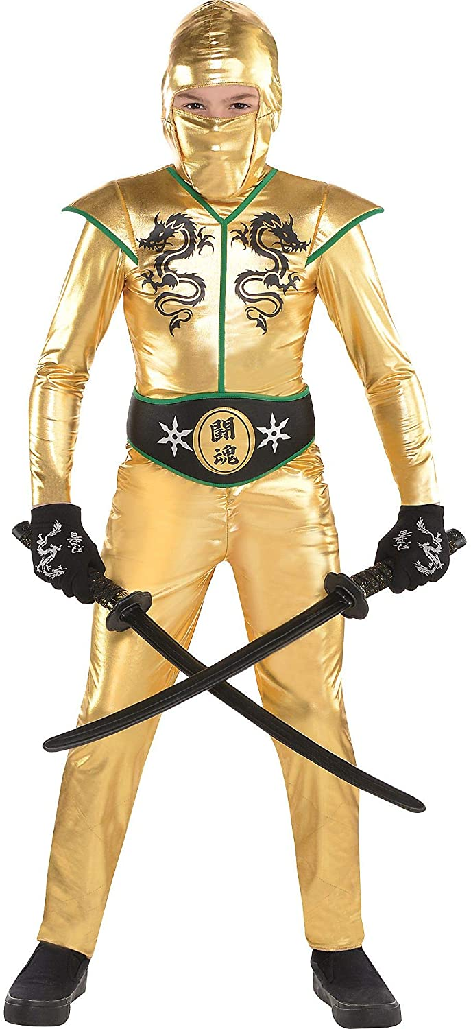 Amscan Gold Fighter Ninja Costume for Boys, Includes a Jumpsuit, a Hood, a Face Scarf, and a Belt