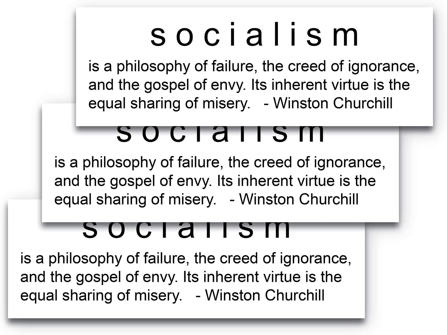9x3 Socialism Winston Churchill Quote Sticker 3-Pack, 100% Waterproof, Durable 9x3 Winston Churchill Quote, Black Lettering on a Clear Background