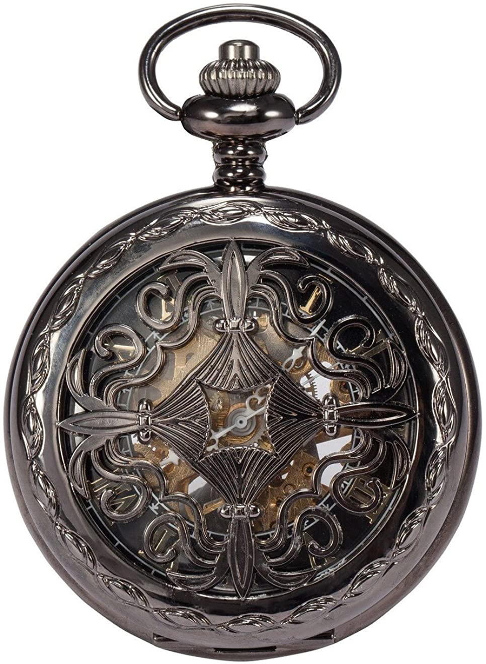 Carrie Hughes Men's Vintage Baroque Steampunk Skeleton Mechanical Pocket Watch with Chain Gifts