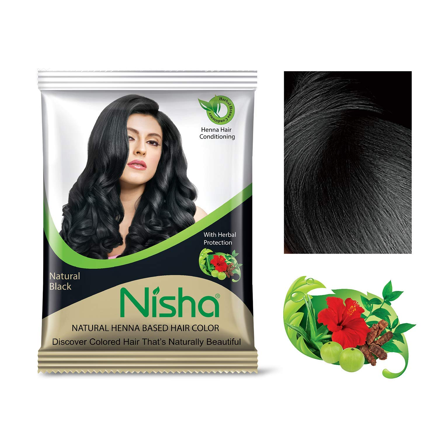 Nisha 10g Natural Color Hair Henna (pack of 6) with Hair Color Brush (Natural Black)