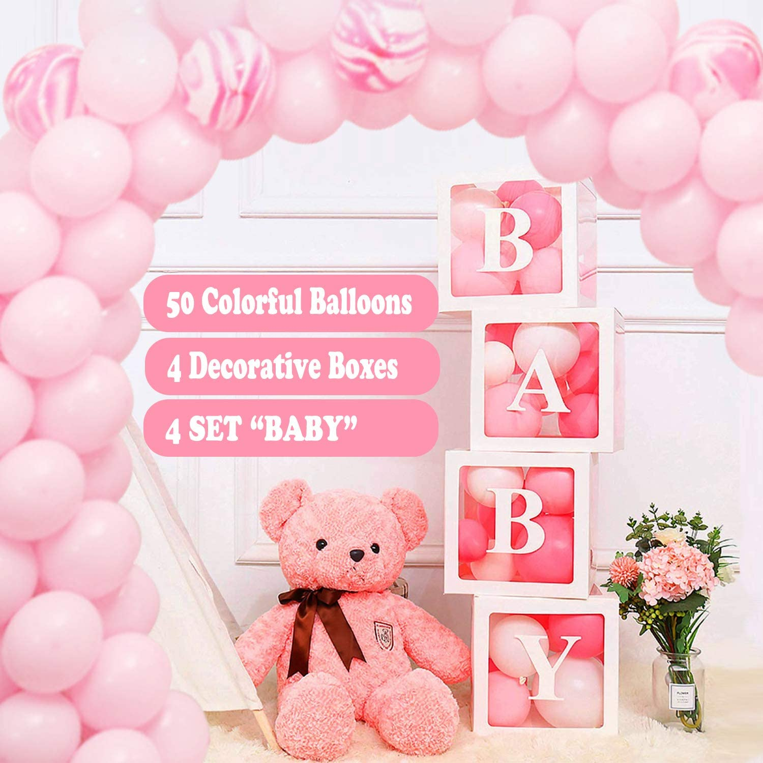 Baby Shower Boxes Party Decorations – Edge Transparent Balloons Boxes with Letter, 50pcs Balloons, Individual BABY Block for Boy Girl Bridal Showers Party Gender Reveal Backdrop (White)