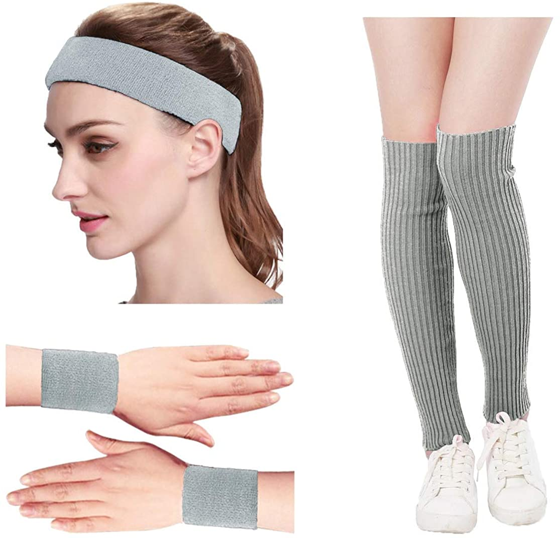 Kimberly's Knit Women 80s Neon Pink Fitness Headband Wristbands Leg Warmers Set
