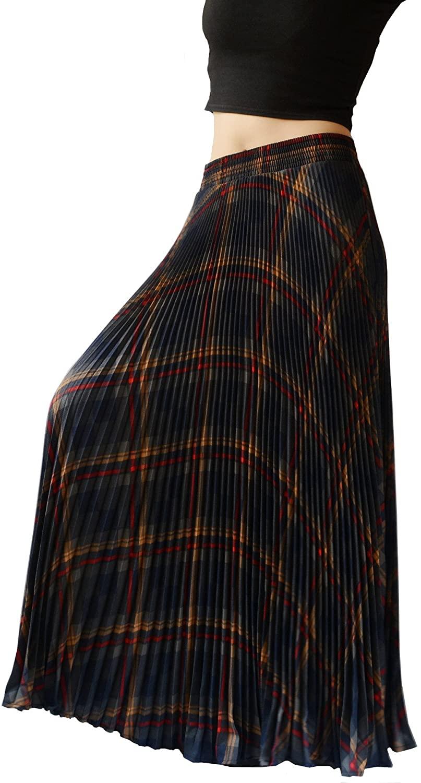 YSJERA Womens Plaid Long Maxi Skirt - Bohemian Chiffon 360 Sunray Pleated Full Skirts