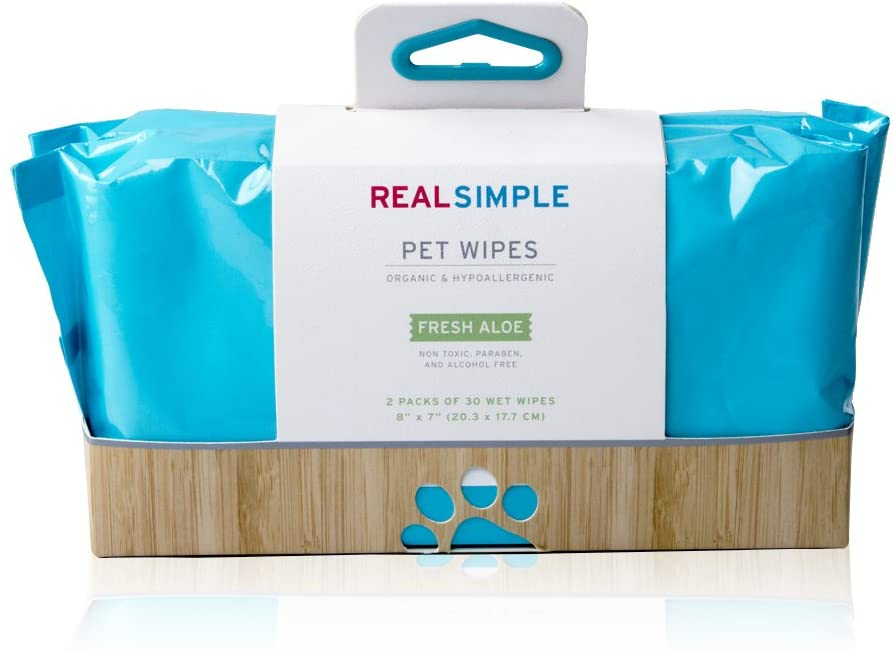 Real Simple Hypoallergenic Pet Wipes - 2 Packs of 30 - Dogs, Cats, Rabbits, More - Non Toxic, Paraben and Alcohol Free for Sensitive Pets