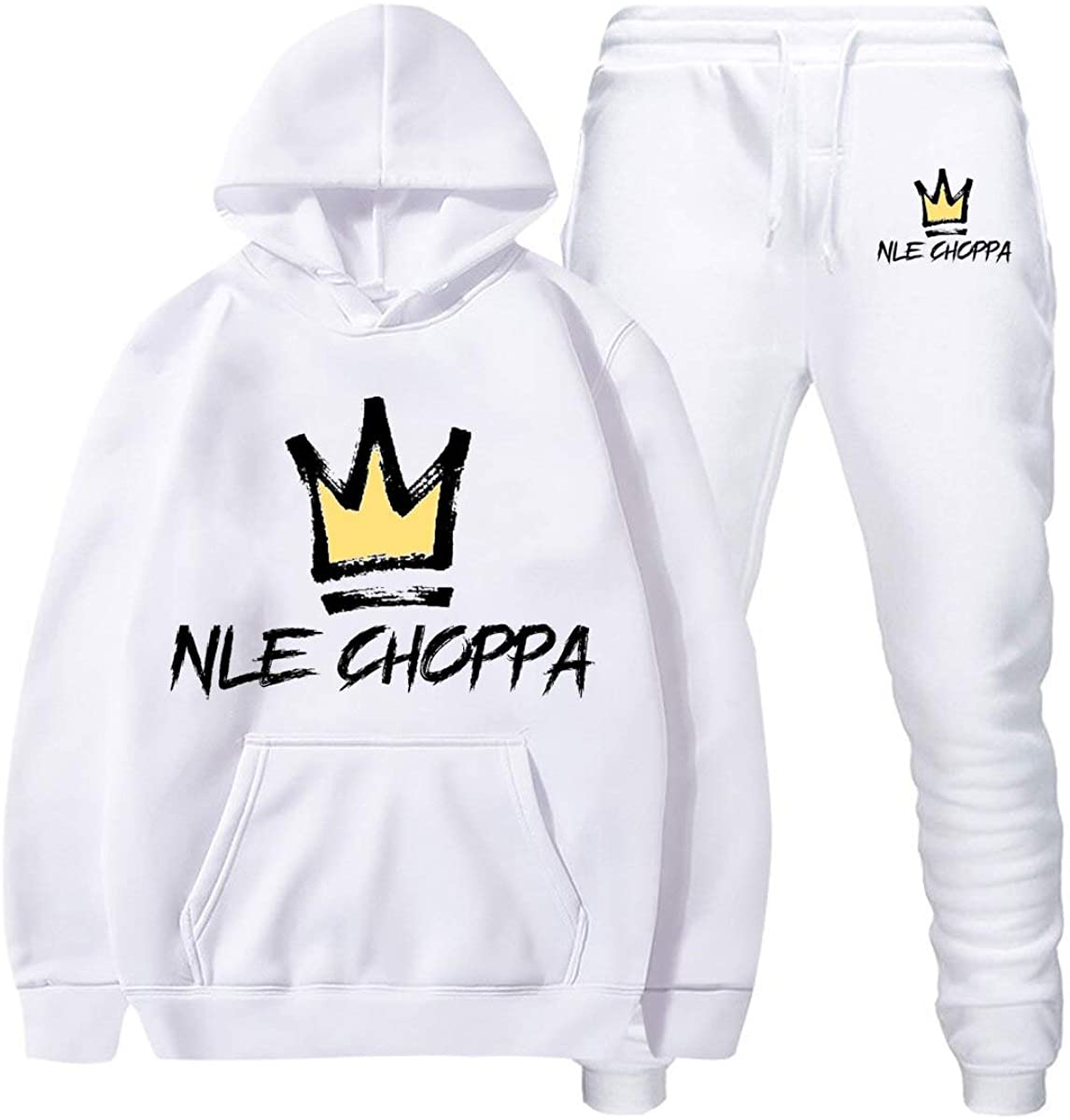 NLE Chop-pa Hoodie And Pants Casual Fashion Hip Hop Two-Piece Sport Suit For Men Women