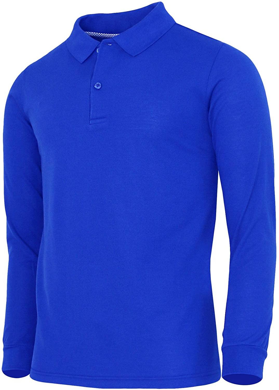 BCPOLO Men's Polo Shirt Cotton Pique Polo Shirt Long Sleeve Polo Shirt-Cobalt L