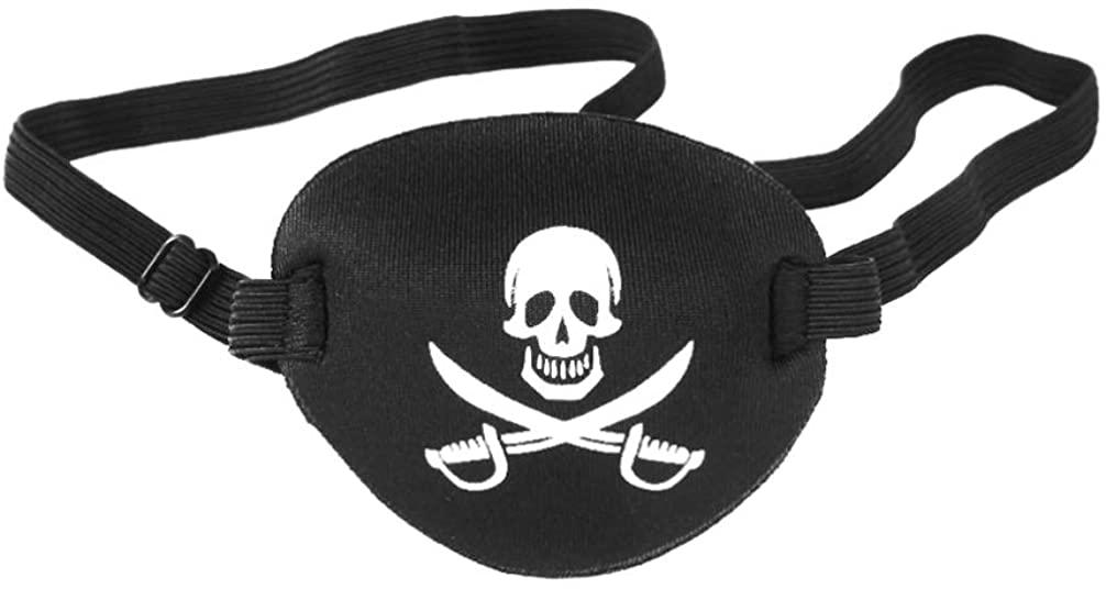 Wakauto 1pc Pirate Eye Patch Useful Convenient Practical Lazy Eye Mask Skull Eye Mask Crossbone Eye Mask for Men Women Adults Black