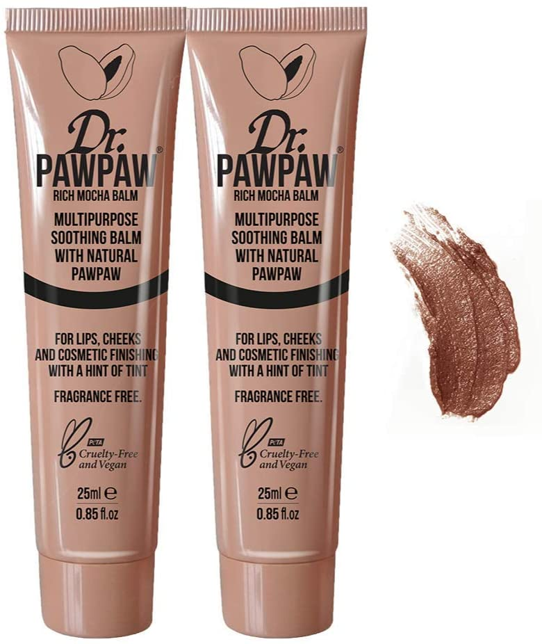 Dr. Pawpaw Multi-Purpose Balm | No Fragrance Balm, for Lips, Skin, Hair, Cuticles, Nails, and Beauty Finishing | 25 ml (Rich Mocha, 2 Pack)