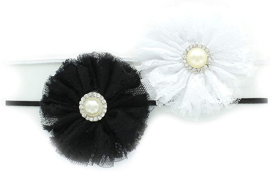 My Lello Baby/Toddler Girls Headbands Lace w/Pearl Flower Skinny Elastic 2 Pack