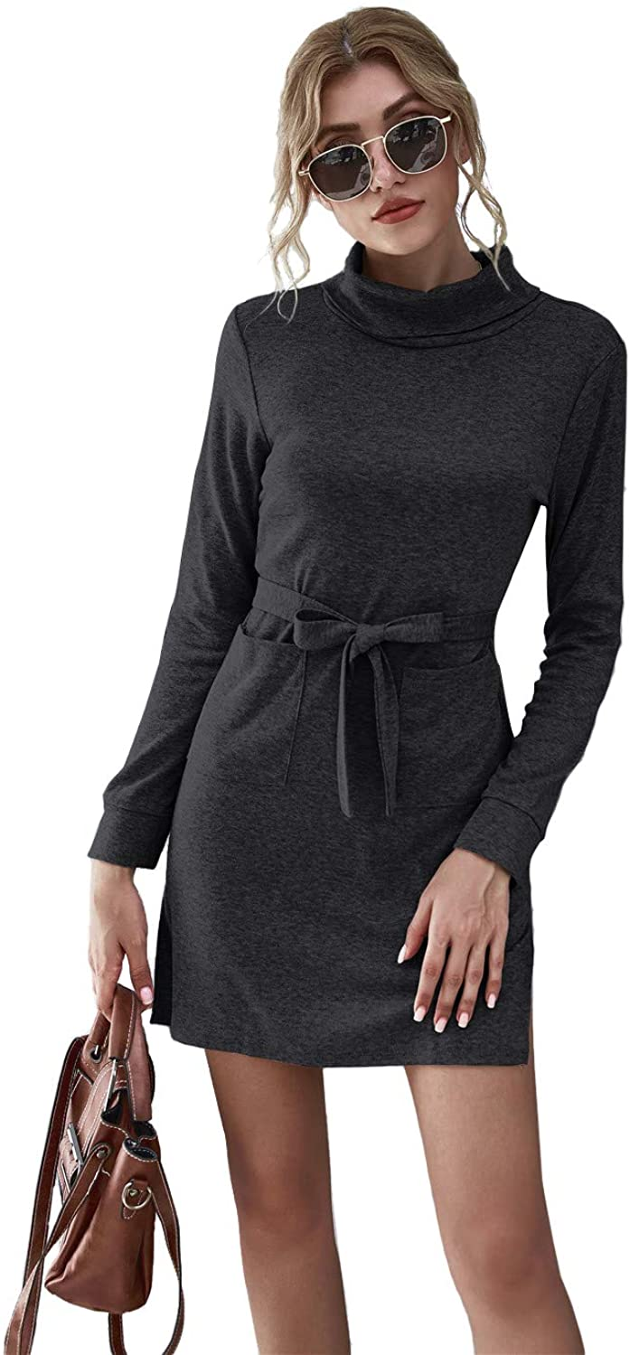 Women's Turtleneck Long Sleeve Solid Pullover Midi Belted Dress with Pockets