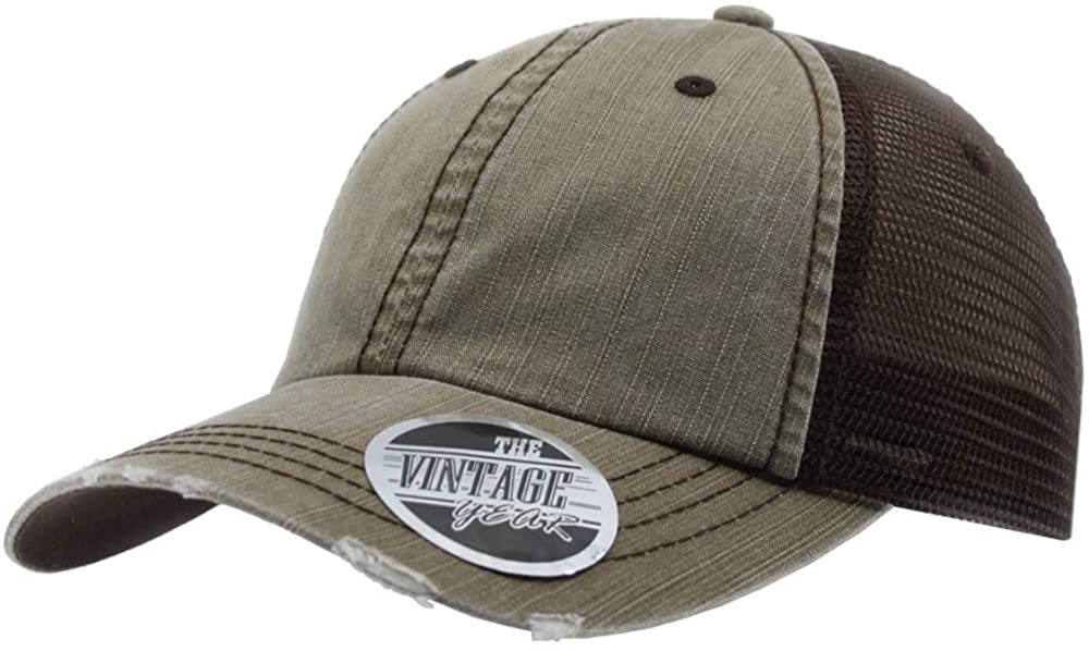 The Vintage Year Washed Cotton Unstructured Soft Mesh Adjustable Trucker Baseball Cap