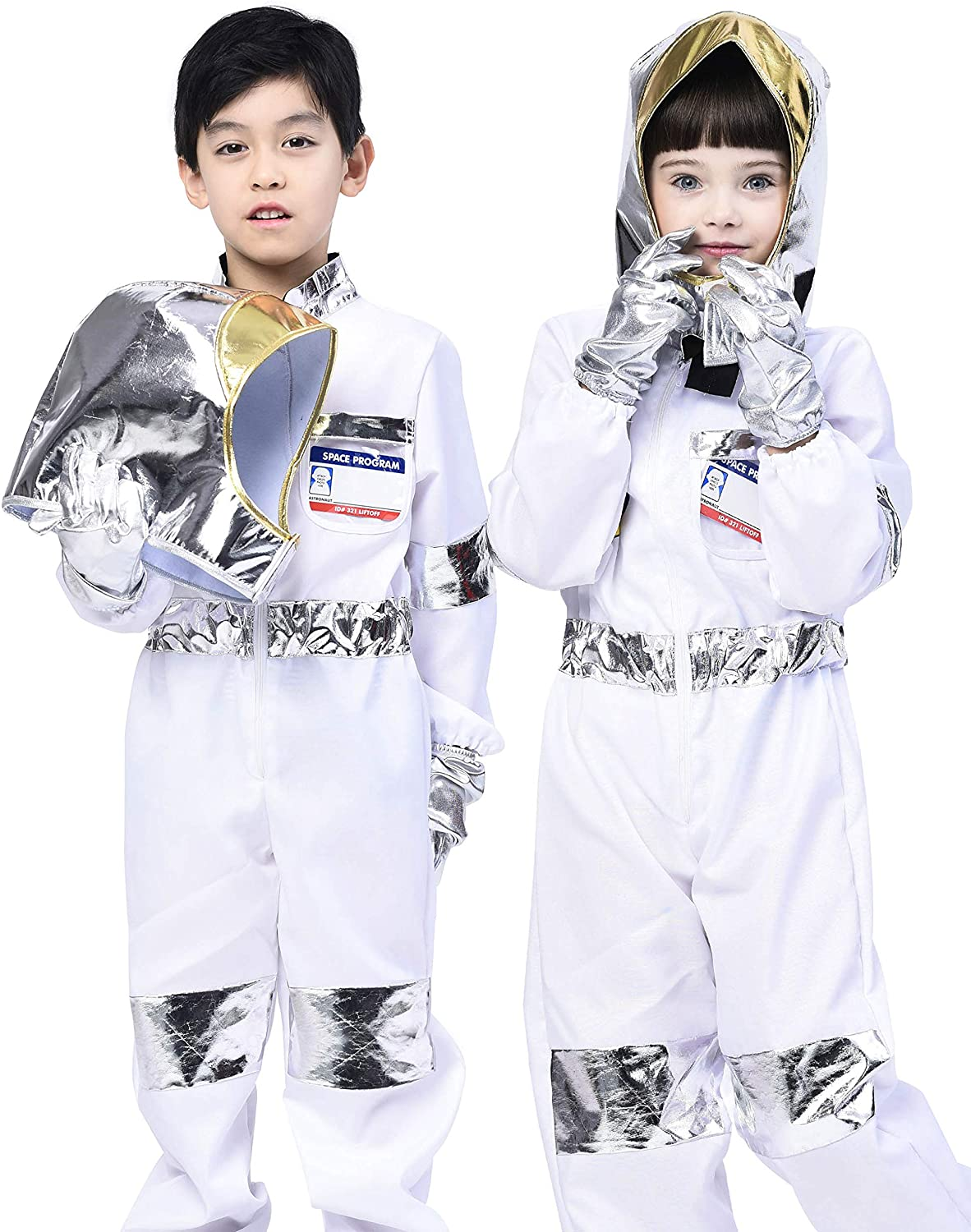 IKALI Kids Astronaut Costume,Classic Space Coats Pretend Play Outfit with Accessories (5pcs ) 4-6Y