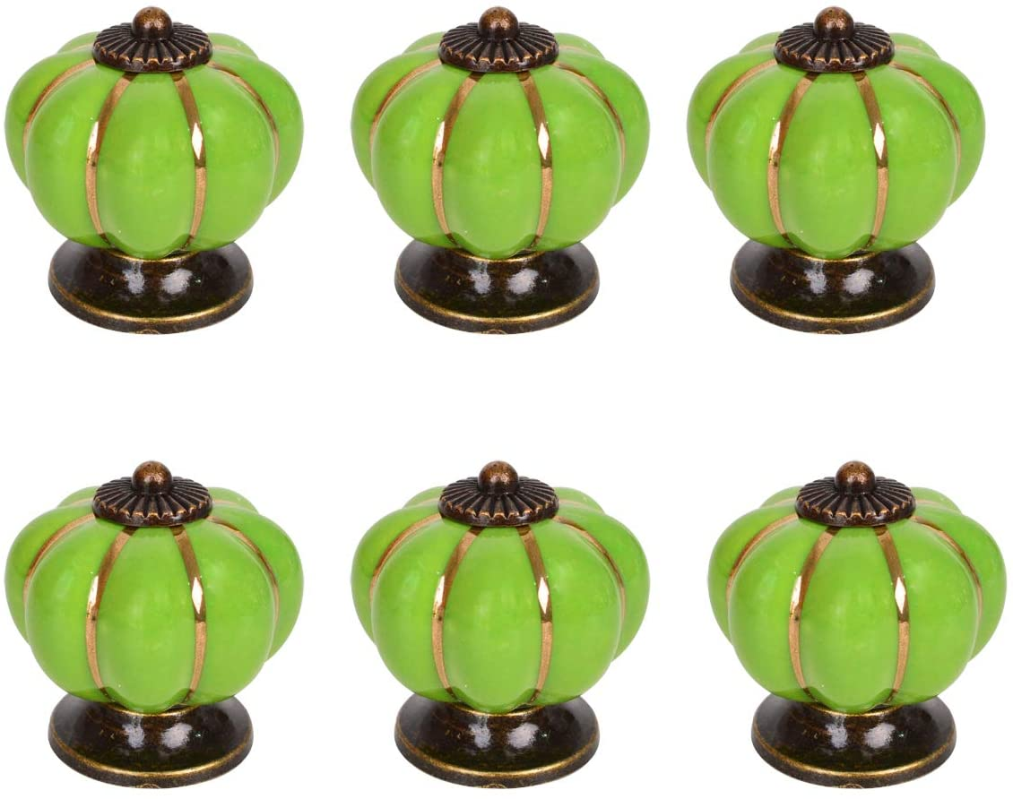 Baitaihem 6 Pack Ceramic Cabinet Knobs Vintage Colorful Cabinet Drawer Door Knob Door Pull Furniture Kitchen Drawer Handle Knobs (Green)