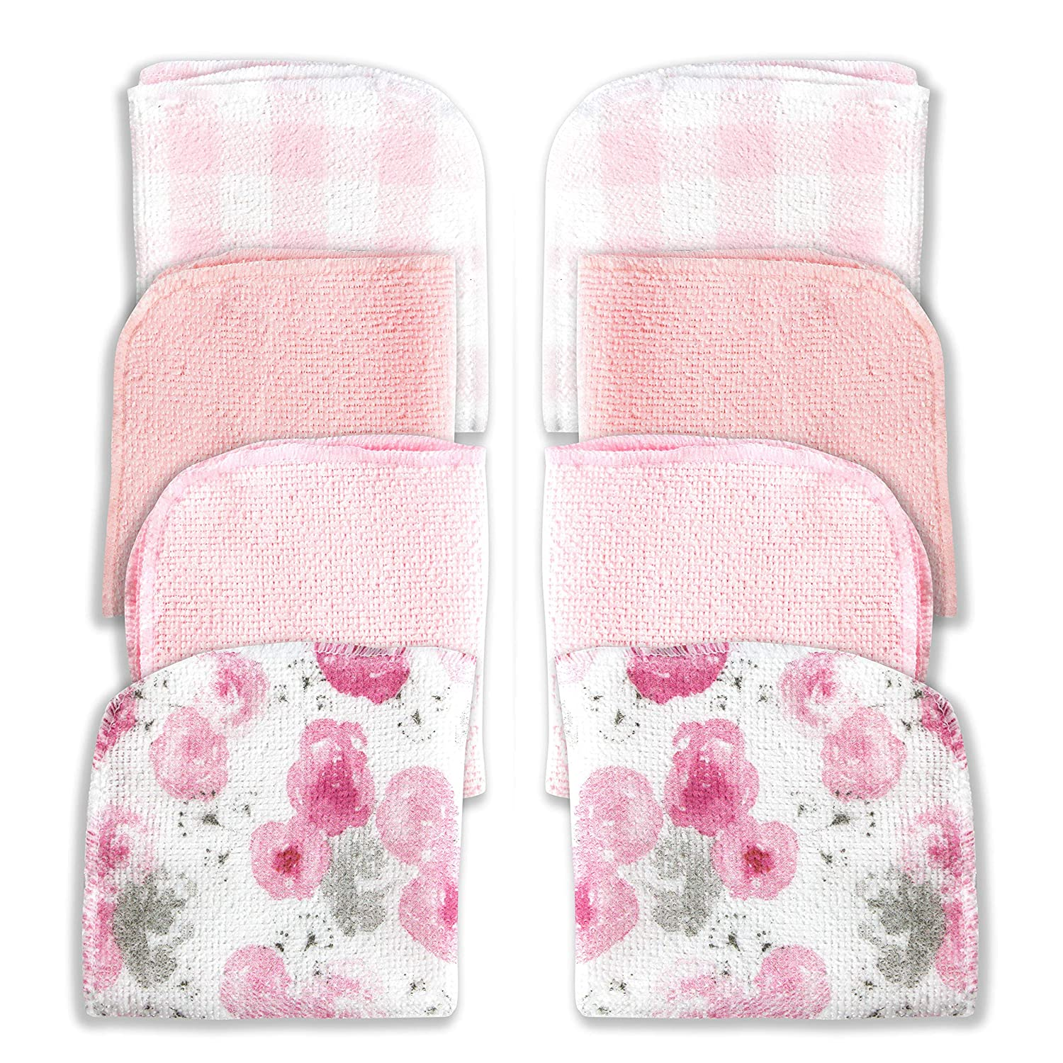 MODERN BABY 8 Pack Washcloth Set for Baby Girls & Boys Soft Reusable Wash Clothes Face Towels for Newborns Babies & Toddlers