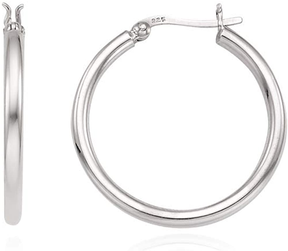 J.RAHEL 925 Sterling Silver Classic Round Click Top Hoop Earrings for Women, 20mm/30mm/40mm