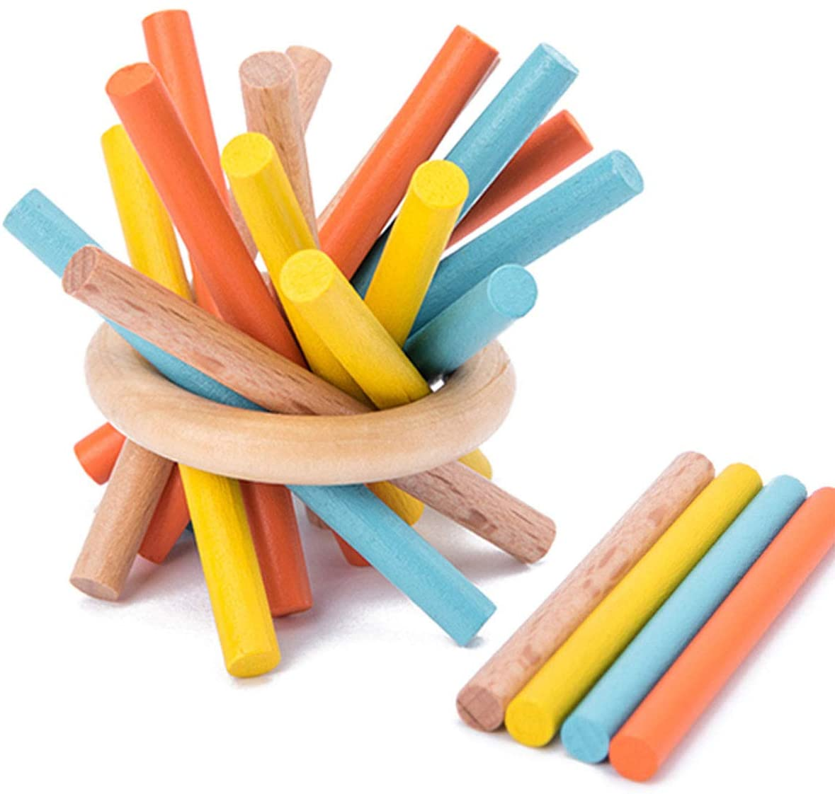 Bienau Pick Up Sticks Game Colorful Classic Wooden Pick Up Sticks Game for Kids and Parents Travel Learning Montessori Toys with Metal Case (16 PCS)