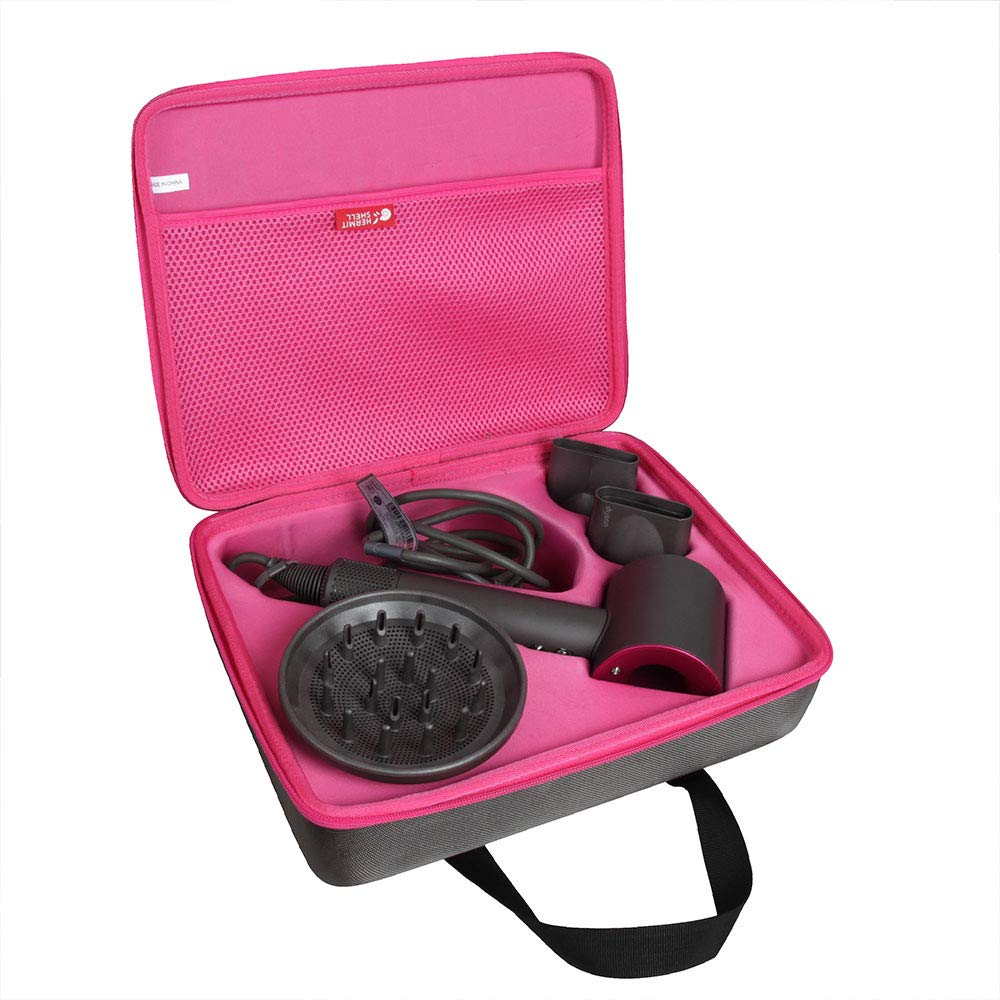 Hermitshell Travel Case for Dyson Supersonic Hair Dryer Iron (Grey+Fuchsia)