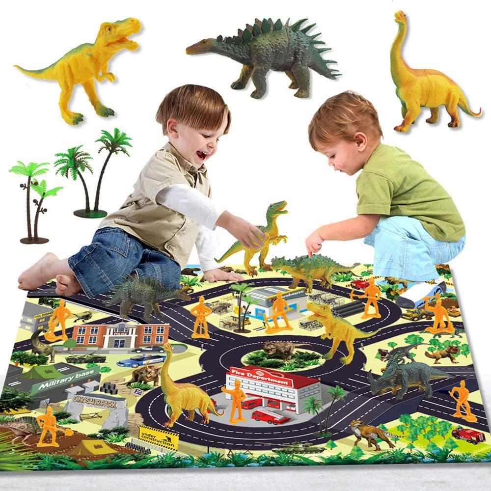 Novania Baby Road Play Carpet, Children Dinosaur Adventure Playmat, Crawling Mat for Toddler, Kid's Playroom Blanket,City Traffic Map,Floor Mat Playset, Parent-Child Interactive Game Rug - 17 Pcs