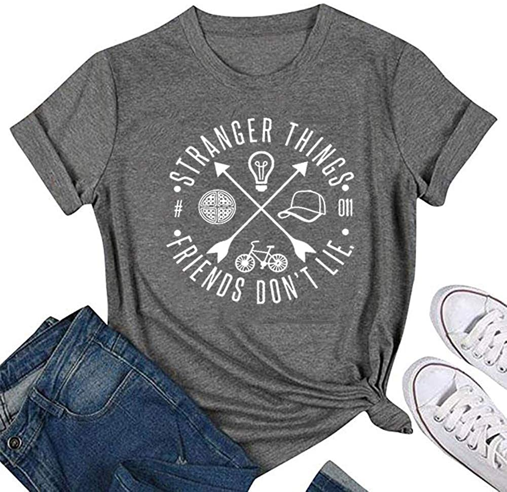Stranger Things Friends Don't Lie Shirt Funny Vintage Hawkins Middle Graphic Tees Tops
