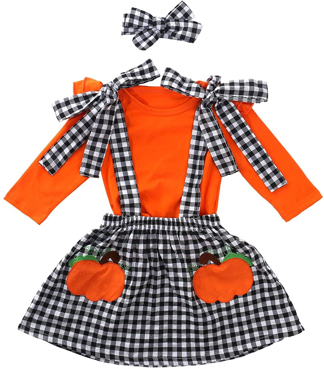 Halloween Toddler Baby Girls Outfit Ruffle Long Sleeve Top +Bowknot Suspender Pumpkin Skirt +Headband Fall Clothes Set