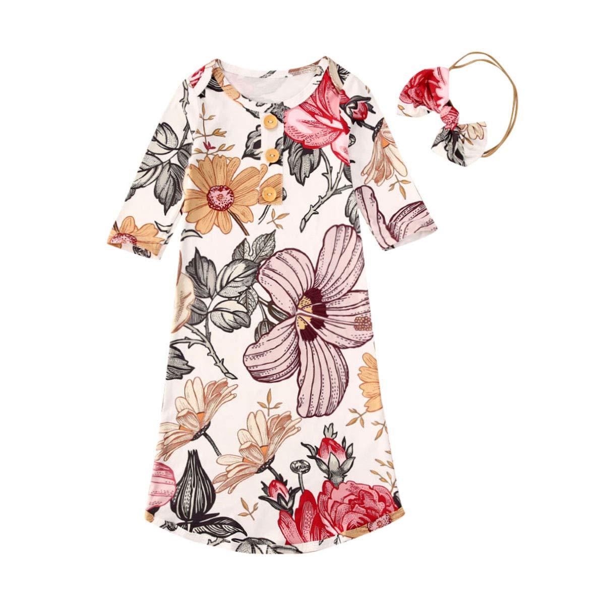 2Pcs Unisex Newborn Baby Girl Floral Long Sleeve Sleepwear Nightgown Romper Sleeping Bag+Headband Outfits Set (Floral Sleeping Bag+Headband,0-3 Months)