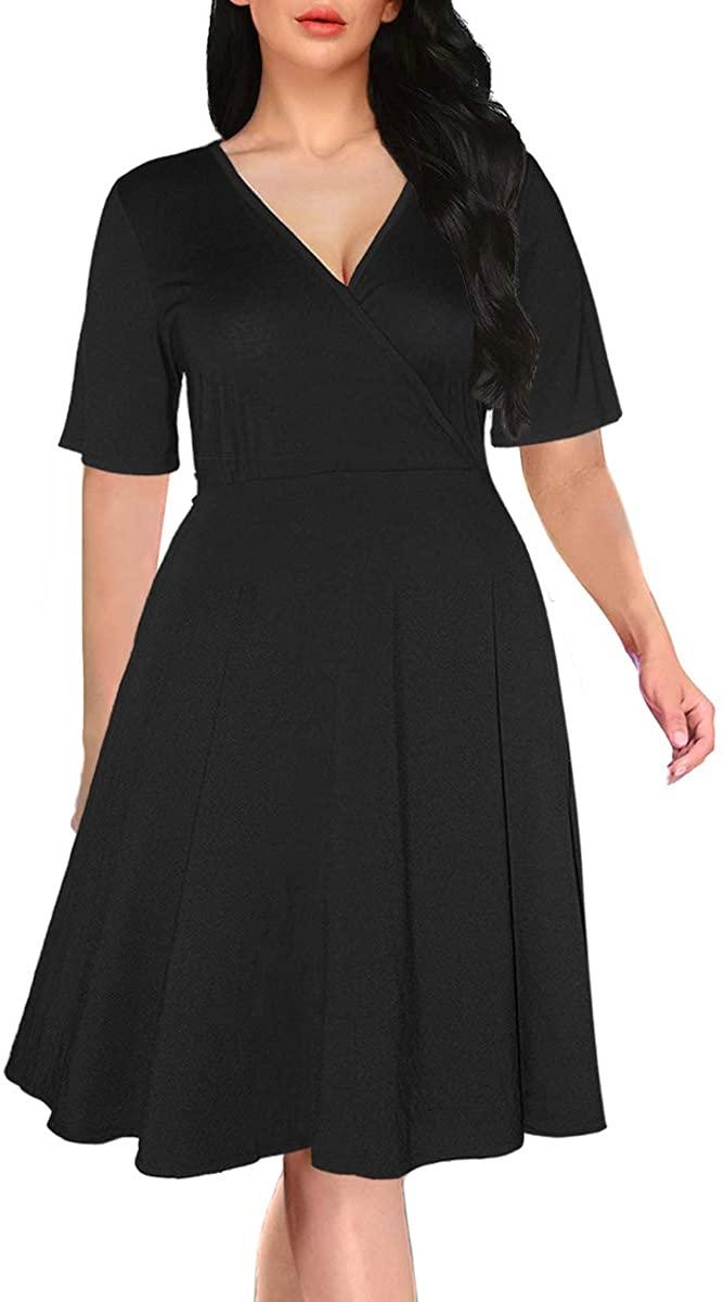 ANLY Women's Plus Size Dresses V-Neckline Short Sleeve Stretchy Midi Dress with Belt