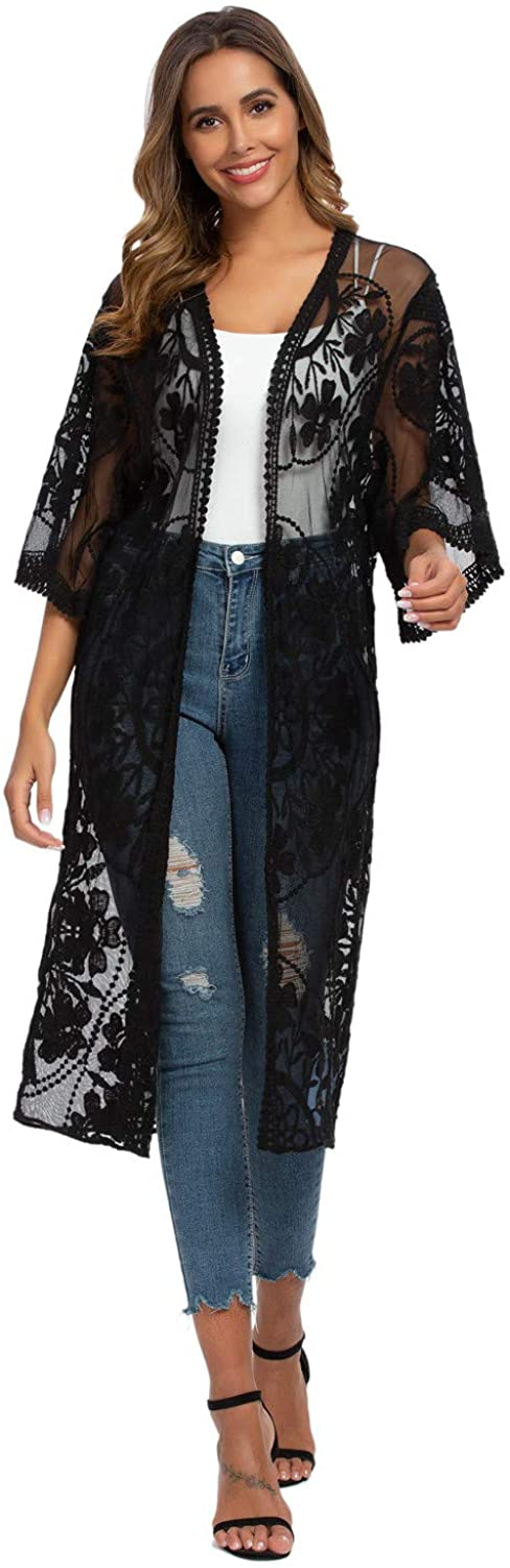 Alcea Rosea Women's Lace Floral Kimono Cardigan Sheer See Though Tops Loose Open Blouse Cover Ups