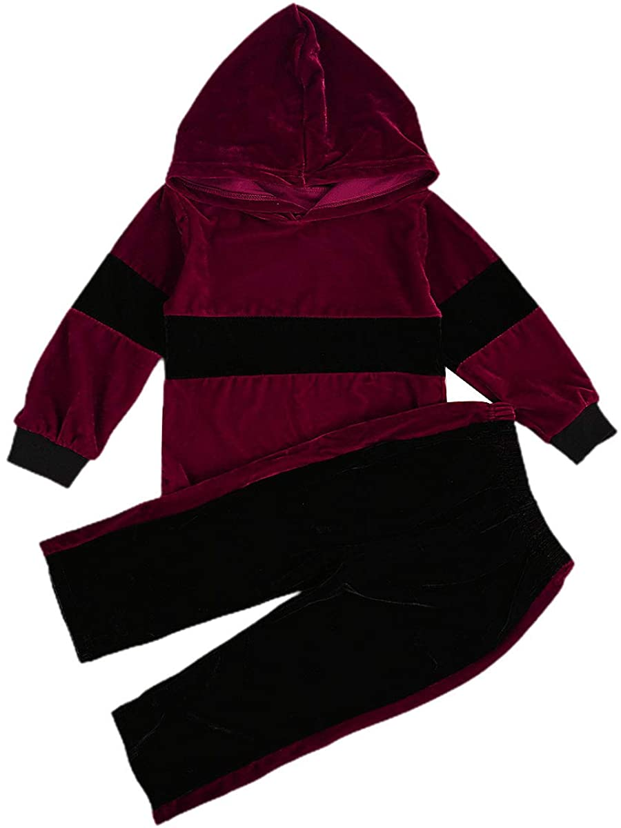 Fashion 2Pcs Kids Toddler Baby Girl Velvet Tracksuit Splicing Hoodie Sweatshirt Sweatpants Warm Fall Winter Outfits Set
