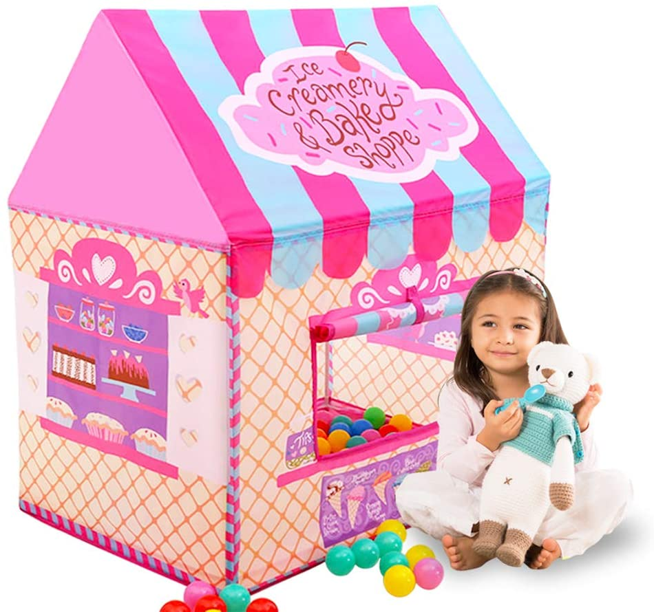 Happyhour Clubhouse Tents for Girls - Kids Play Tent for Children Playhouse, Ice Cream Candy House Tent, Toys for Girls Indoor and Outdoor Games with Windows Design & Portable Carry Bag (Pink)