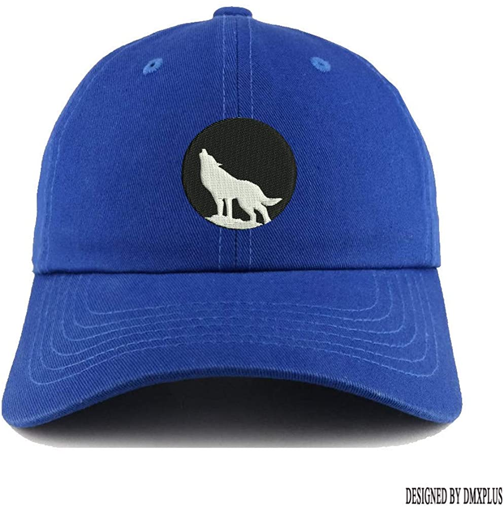 Weytff Retro Snapback Baseball Cap Howling Wolf in The Night Blue Dad Hat Polo Style Summer Women Men