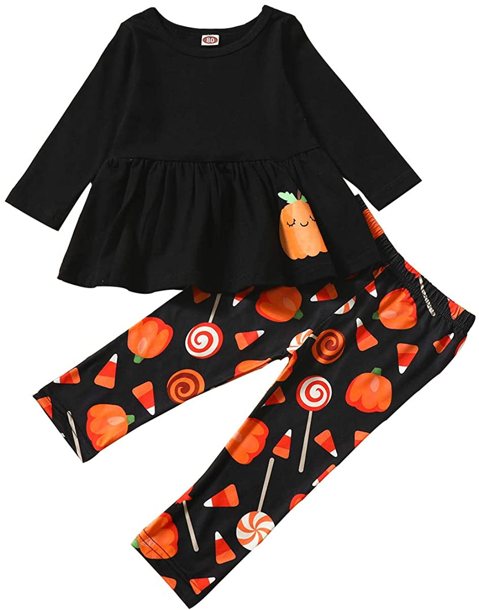 Toddler Baby Girls Clothes Halloween Ghost Tassels Top Dress+Floral Pants Trousers Set Outfits