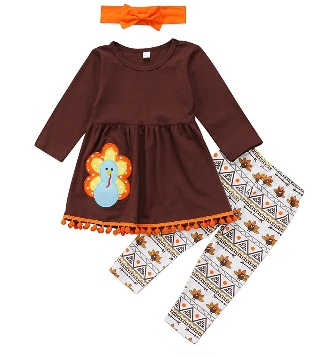 GOOCHEER Thanksgiving Toddler Girl Outfit Turkey Long Sleeve Top Dress Pants Headband 3Pcs Clothes Clothing Costumes 2-7T